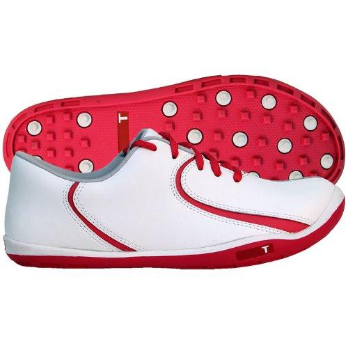TRUE linkswear Women's True Isis Golf Shoes (White/Pink, 5 M)