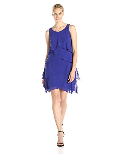 S.L. Fashions Women's Jewel Strap Multi Tiered Cocktail Dress,Iris,10