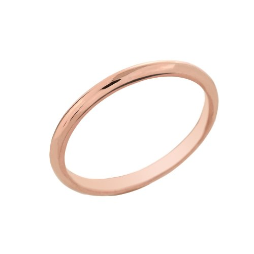 Dainty 14k Rose Gold Comfort-Fit Band Traditional 2mm Wedding Ring for Women, Size 4.75