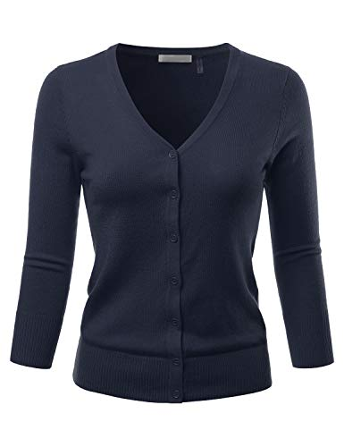 EIMIN Women's 3/4 Sleeve V-Neck Button Down Stretch Knit Cardigan Sweater Navy 1XL