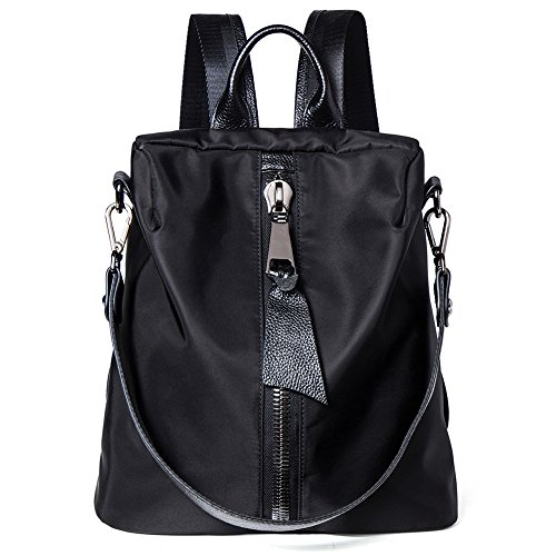 NAWO Women's microfibre Backpack Casual Daypack Handbags School Fabric Rivet Bag for Ladies & Girls-Black