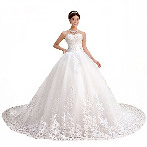 QueenBridal Sweetheart Lace Chapel Train Ball Gown Wedding Dress (20W,White)