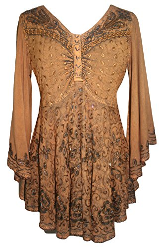 116 B Medieval Butterfly Flair Bell Sleeve Top Blouse [Rust; 2X]