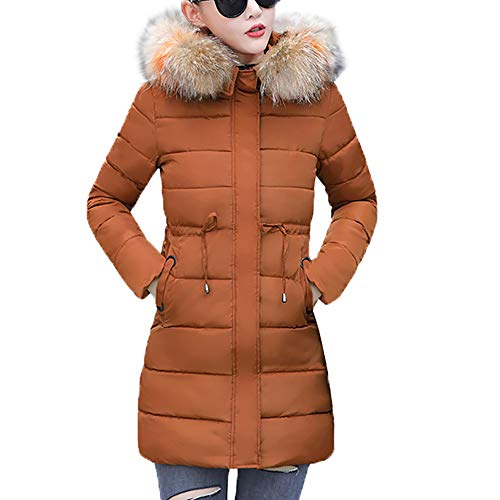 Women Winter Coat Faux Fur Hooded Collar Long Jackets Warm Thicken Padded Coat(Coffee,Large)