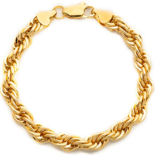 Lifetime Jewelry Rope Bracelet 7MM Diamond Cut 24K Gold Plated Fashion Jewelry 9 Inches