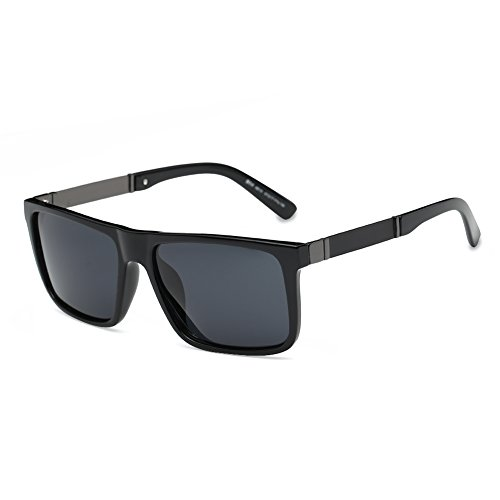 DONNA Trendy Oversized Square Aviator Polarizd Sunglasses Wayfarer Style with Big Unbreakable Frame and Anti-glare Lens D54(Black Lens/Matte-Black arms)