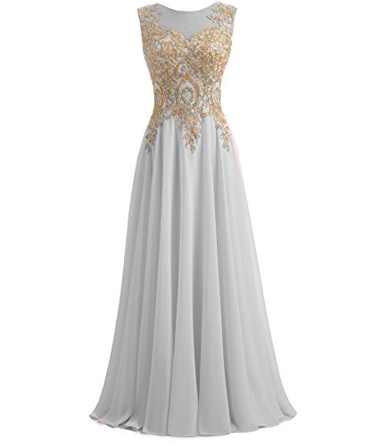 Kivary Gold Lace A Line Long Chiffon Women Formal Prom Evening Dresses Plus Size Silver US 20W