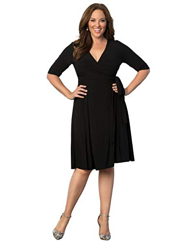 Kiyonna Women's Plus Size Essential Wrap Dress 0X Black Noir