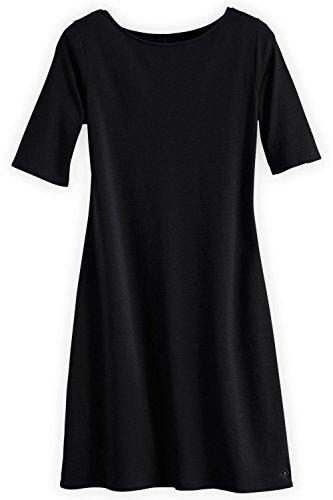 Fair Indigo Fair Trade Organic Boat Neck Dress (L, Black)