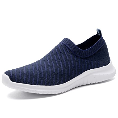TIOSEBON Women's Walking Shoes Lightweight Mesh Slip-on- Breathable Running Sneakers 7.5 US Navy