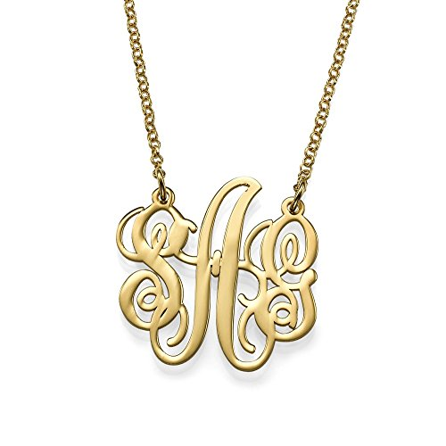Fancy Personalized Monogram Necklace – Custom Made Pendant with Any Initial-Jewelry for Her (18, gold-plated-silver)