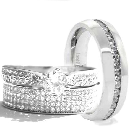 His & Hers 3 Pieces, 925 Sterling Silver & Stainless Steel Engagement Wedding Ring Set, AVAILABLE SIZES men's 7,8,9,10,11,12; women's set: 5,6,7,8,9,10. CONTACT US BY EMAIL THROUGH AMAZON WITH SIZES AFTER PURCHASE!