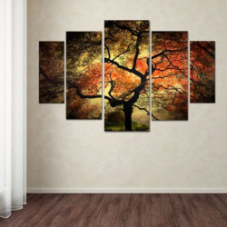 Japanese Tree 5-piece Canvas Wall Art Set, Multicolor