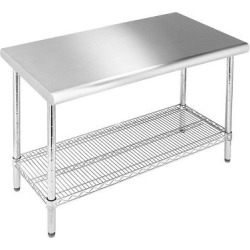 Seville Stainless Steel Top Work Table, Silver