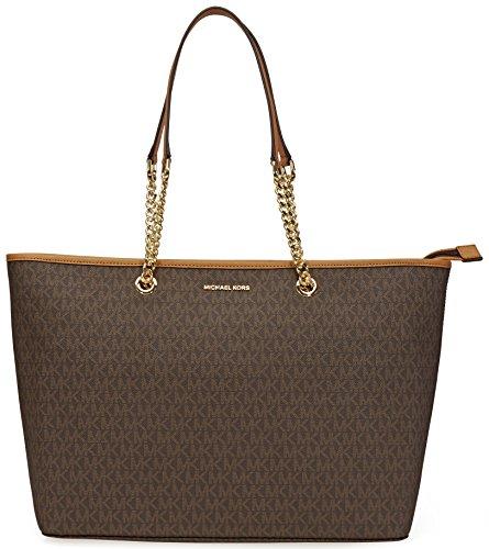 Michael Kors Womens Jet Set Travel Signature Tote Handbag Brown Large