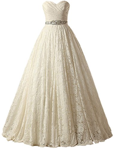 SOLOVEDRESS Women's Ball Gown Lace Princess Wedding Dress 2017 Sash Beaded Bridal Evening Gown (Customized Size,Champagne)
