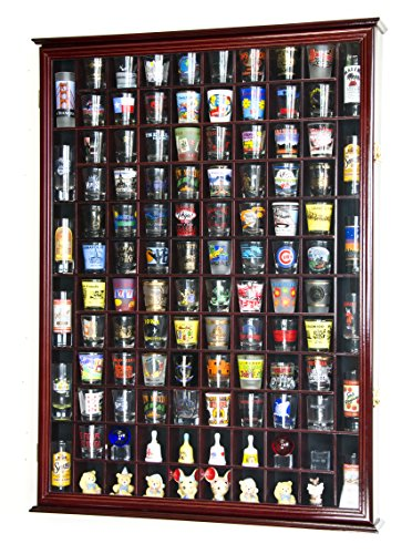 108 Shot Glass Shooter Display Case Holder Cabinet Wall Rack w/ UV Protection -Cherry