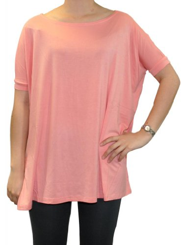 Piko Women's Famous 1988 Short Sleeve Bamboo Top Loose Fit Small Peach