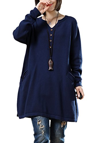 Mordenmiss Women's New Loose Long Sleeved Pullover Sweater Style 1-M-Dark Blue T18011212