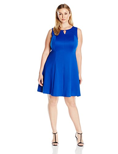 Ellen Tracy Women's Plus Size Sleeveless Fit and Flare Dress with Kehole at Neckline, Cobalt, 20W