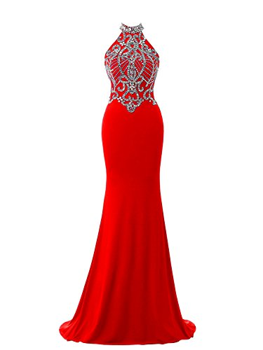 M Bridal Women's Beaded Rhinestones High Neck Long Mermaid Christmas Dress Red Size 16