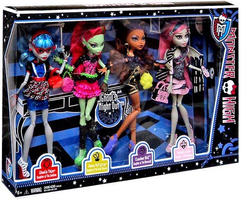Monster High Ghouls Night Out 4 Doll Set Rochelle Goyle – Clawdeen Wolf – Ghoulia Yelps & Venus McFlytrap