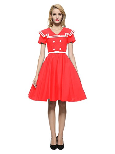 Maggie Tang 50 60s Rockabilly Vintage Gossip Girl Swing Ball Gown Dress Red M