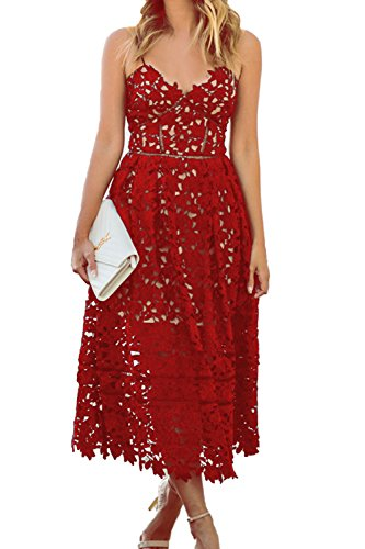 Alvaq Women's Sexy V Neck Sleeveless Lace Dress Red, Small