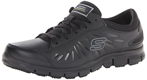 Skechers for Work Women's Eldred Work Shoe, Black, 7.5 M US