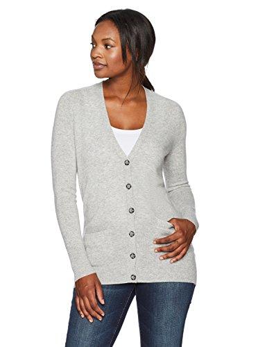 Lark & Ro Women's 100% Cashmere Soft Boyfriend Cardigan Sweater, Light Grey, Large