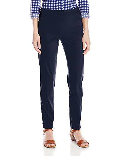 SLIM-SATION Women's Wide Band Pull On Ankle Pant with Tummy Control, Midnight, 16