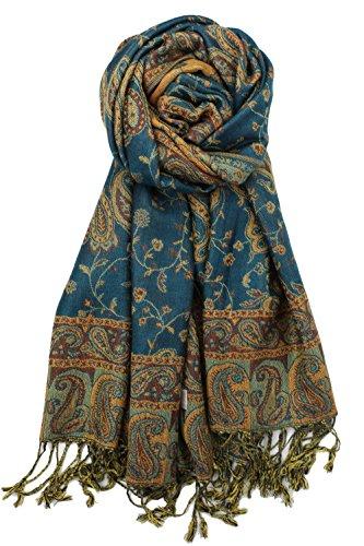 Achillea Soft Silky Reversible Paisley Pashmina Shawl Wrap Scarf w/Fringes (Dark Seagreen)