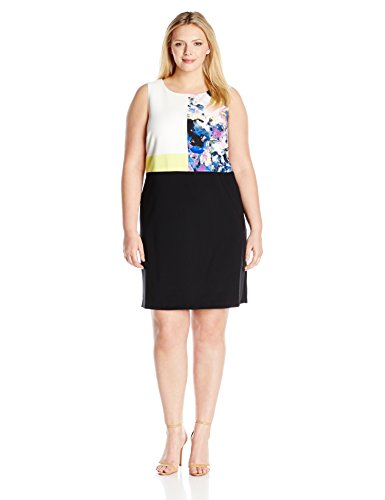 Ellen Tracy Women's Plus-Size Mixed Media Shift Dress, Botanical Multi, 16W