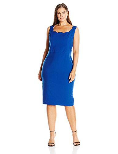 Single Dress Women's Plus Size Scallop Neck Dress, Royal, 1X