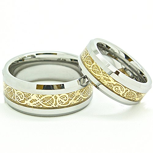 Matching 7mm & 9mm Tungsten Golden Colored Celtic Dragon Inlay Wedding Rings Engagement Bands (Check Sizes) 4-17