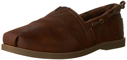 BOBS from Skechers Women's Chill Luxe – Buttoned Up Flat, Brown, 8 W US