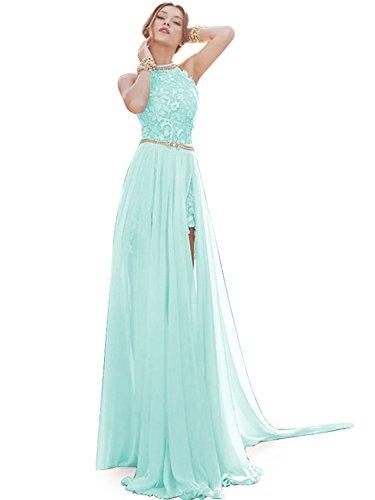 Babyonline Aqua Lace Semi Formal Dresses Long Evening Cocktail Gowns