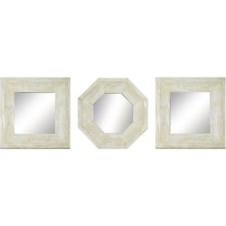 Square Reclaimed Wood Mirror Set of 3 White – Ptm Images, Brown