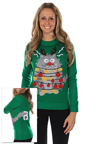 Women's Ugly Christmas Sweater – The Electrocuted Cat Sweater Green Size S