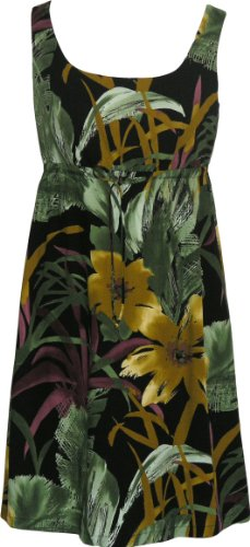RJC Womens Oriental Watercolor Empire Tie Front Short Tank Dress in Black – M