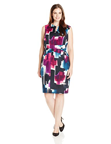 Ellen Tracy Women's Plus-Size Sleeveless Printed Sheath Dress with Keyhole Neck, Purple Multi, 14W