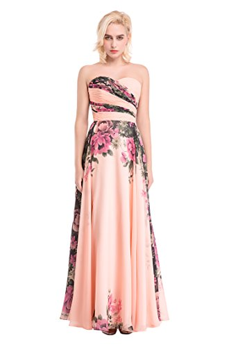 SDRESS Women's Printed Floral Chiffon Prom Dress Multicolor Sweetheart Size 16