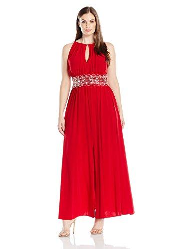 R&M Richards Women's Plus Size Beaded Waist Halter Evening Gown, Red, 16W