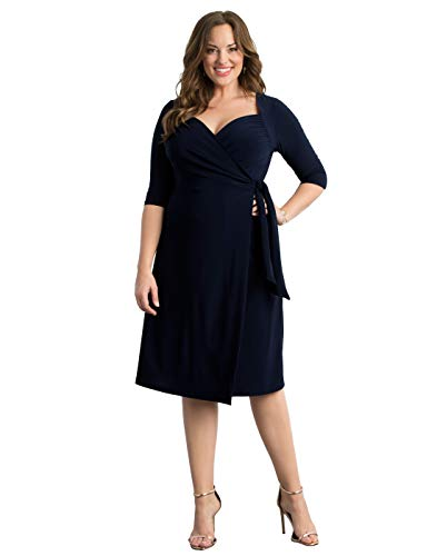 Kiyonna Women's Plus Size Sweetheart Knit Wrap Dress 2x Dark Sky Navy