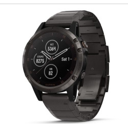 Garmin fenix 5 Smartwatch Plus Sapphire, Carbon Gray DLC Titanium with DLC Titanium Band, Grey