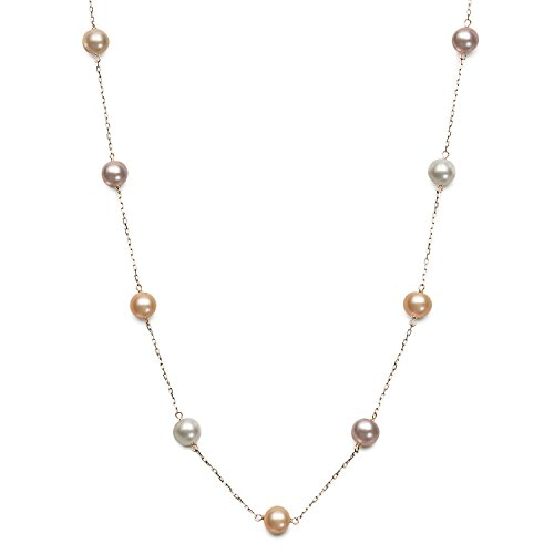10K Yellow Gold 6.0-6.5mm Cultured Freshwater Pearl Station Tin Cup Chain Necklace,18″ (Multi Pink)