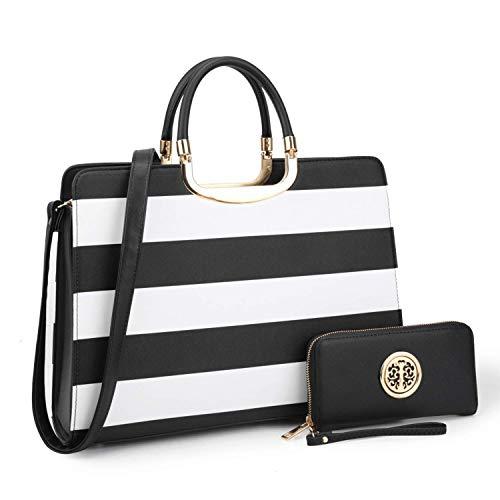 Dasein Designer Purse Stripes Satchel Handbag PU Leather Purse Top Handle Handbags (XL2828 stripe 2PCs- Black/White)