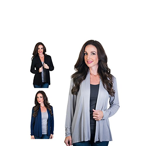 Agiato Women's Modern Long Sleeve Basic Cardigan 3-Pack Multicolor Small