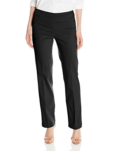 SLIM-SATION Women's Wide Band Pull-On Relaxed Leg Pant Tummy Control, Black, 12
