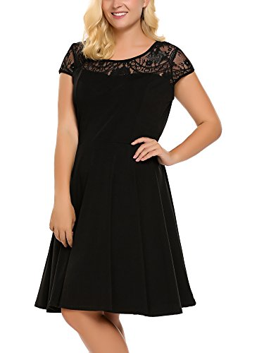 Womens Plus Size Lace Cap Sleeve Fit and Flare Vintage Party Dress – Involand Ladies High Waist Floral Lace Tea Dress